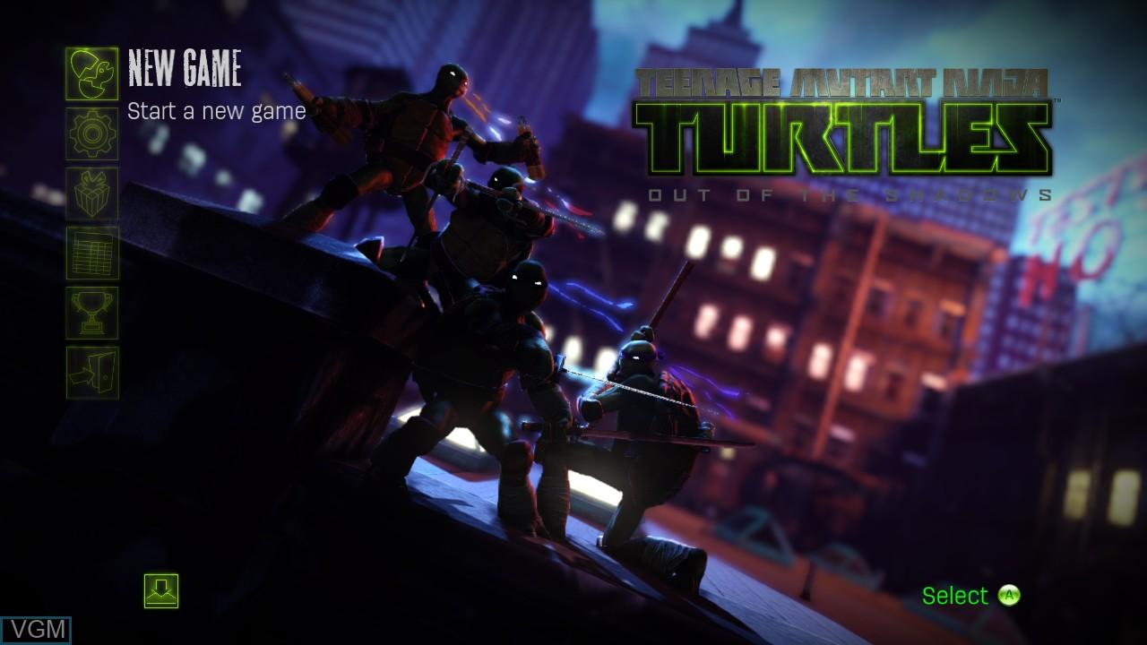 Menu screen of the game Teenage Mutant Ninja Turtles - Out of the Shadows on Microsoft Xbox 360