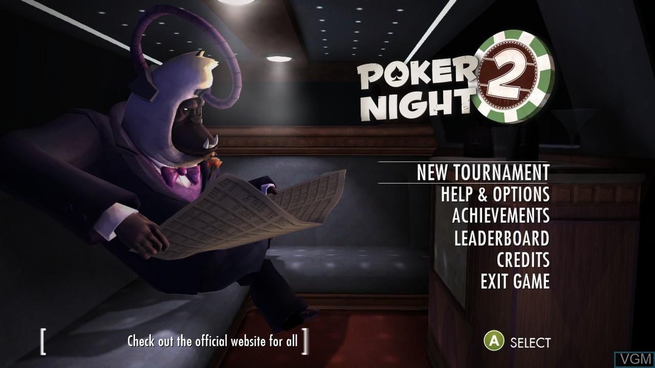 Menu screen of the game Poker Night 2 on Microsoft Xbox 360