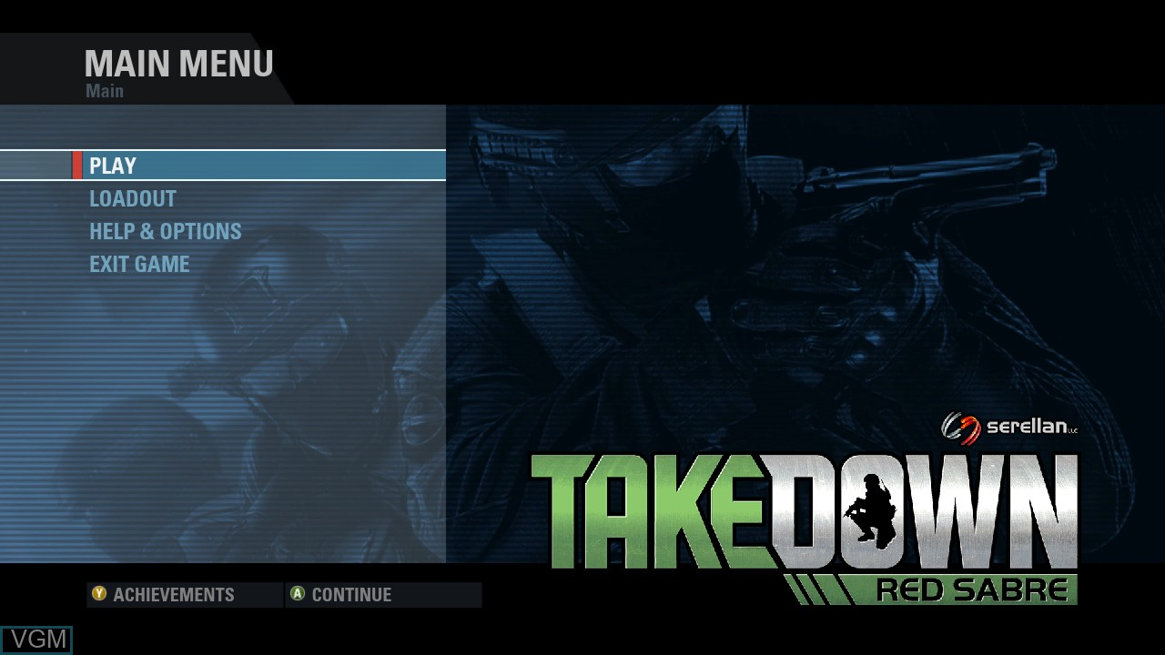 Menu screen of the game Takedown - Red Sabre on Microsoft Xbox 360