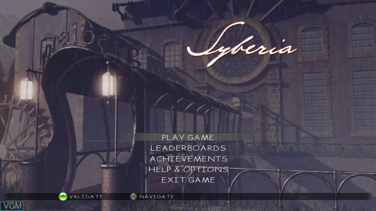 Menu screen of the game Syberia on Microsoft Xbox 360
