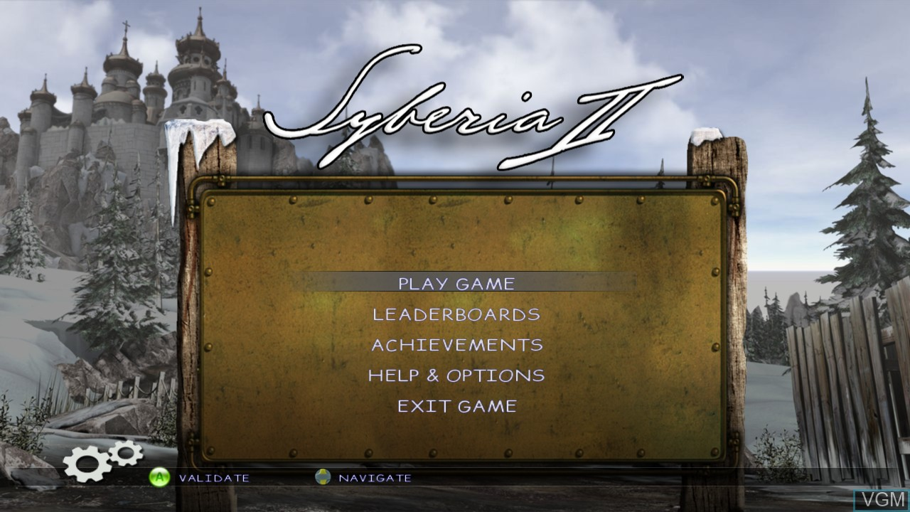 Menu screen of the game Syberia II on Microsoft Xbox 360