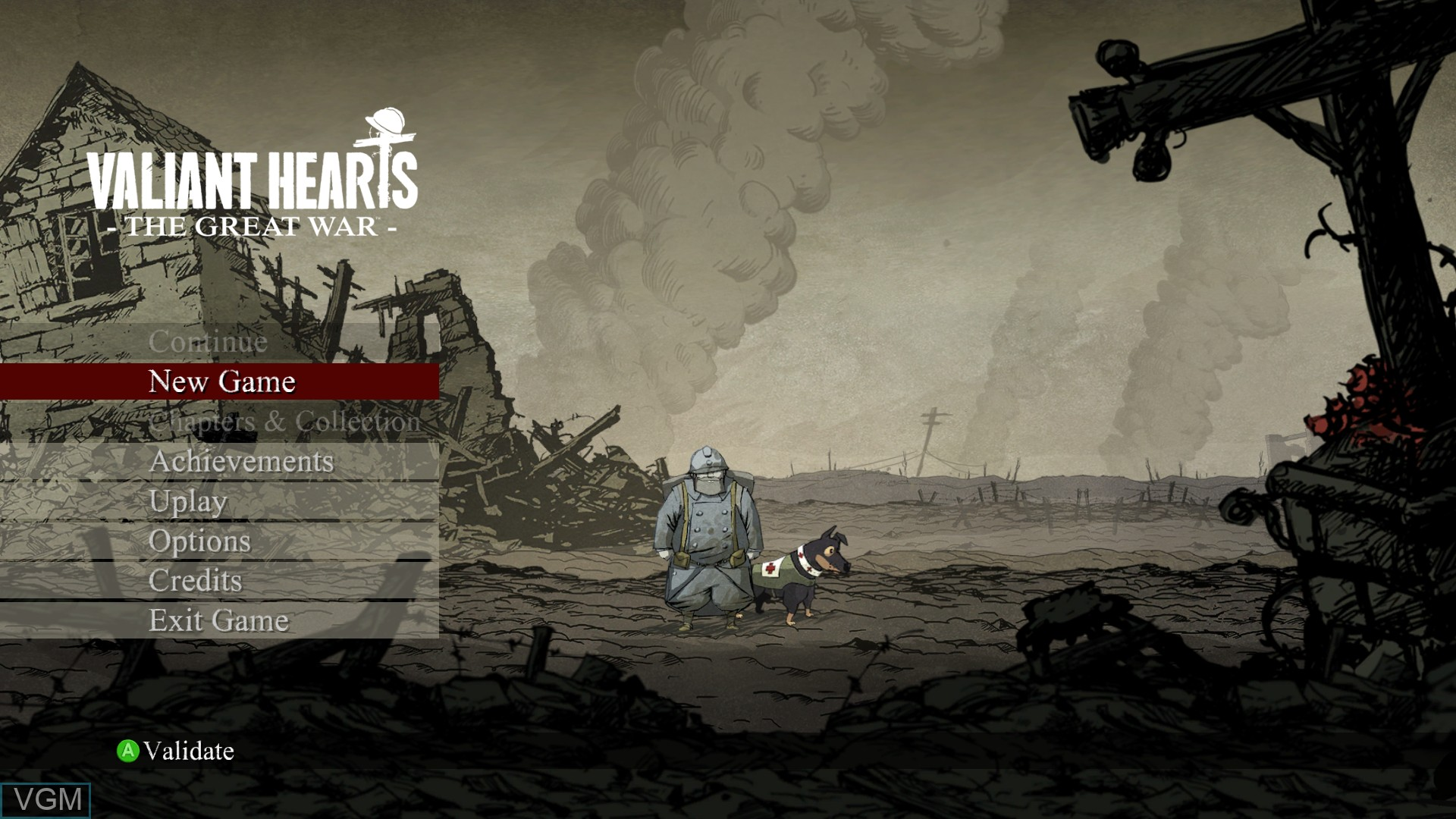 Menu screen of the game Valiant Hearts - The Great War on Microsoft Xbox 360