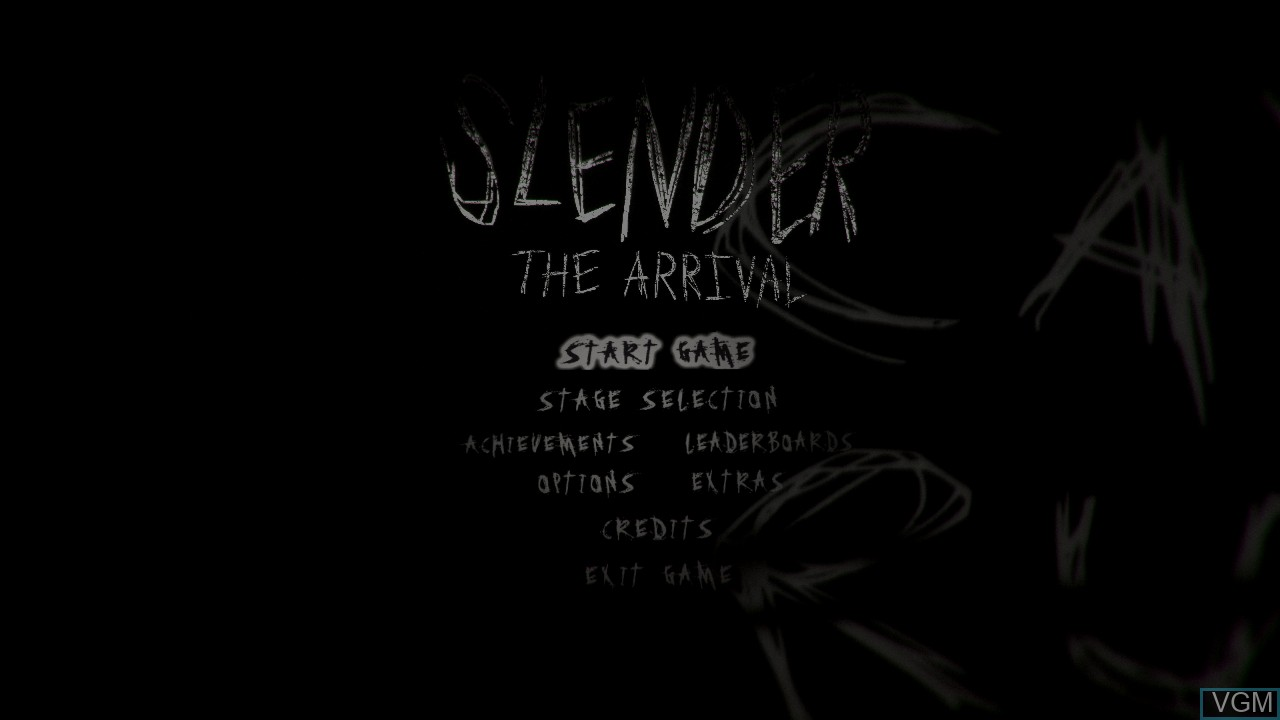 Menu screen of the game Slender - The Arrival on Microsoft Xbox 360