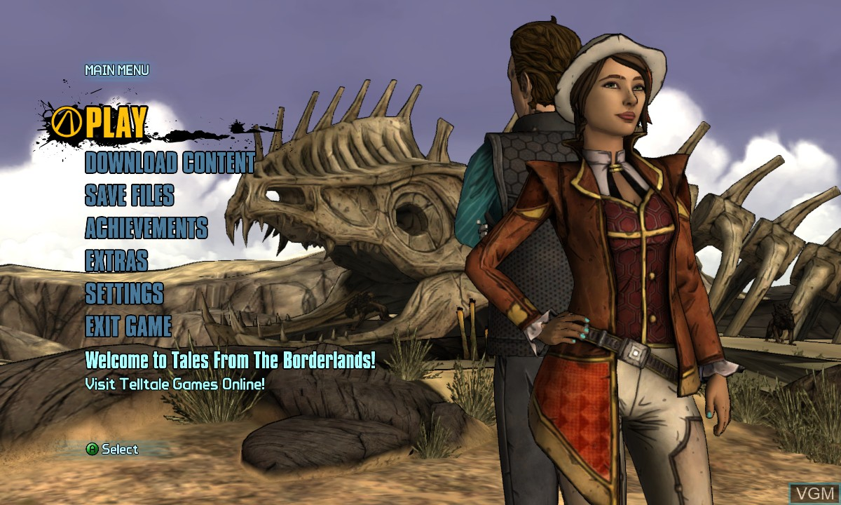 Menu screen of the game Tales from the Borderlands - Episode One - Zer0 Sum on Microsoft Xbox 360