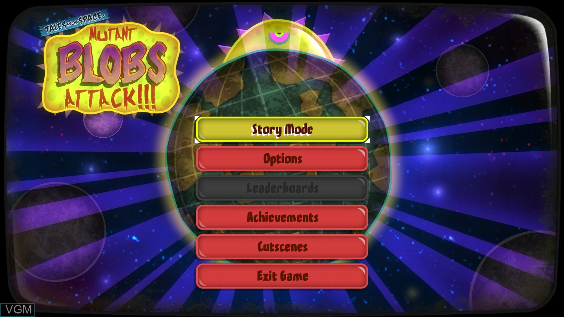 Menu screen of the game Tales From Space - Mutant Blobs Attack on Microsoft Xbox 360