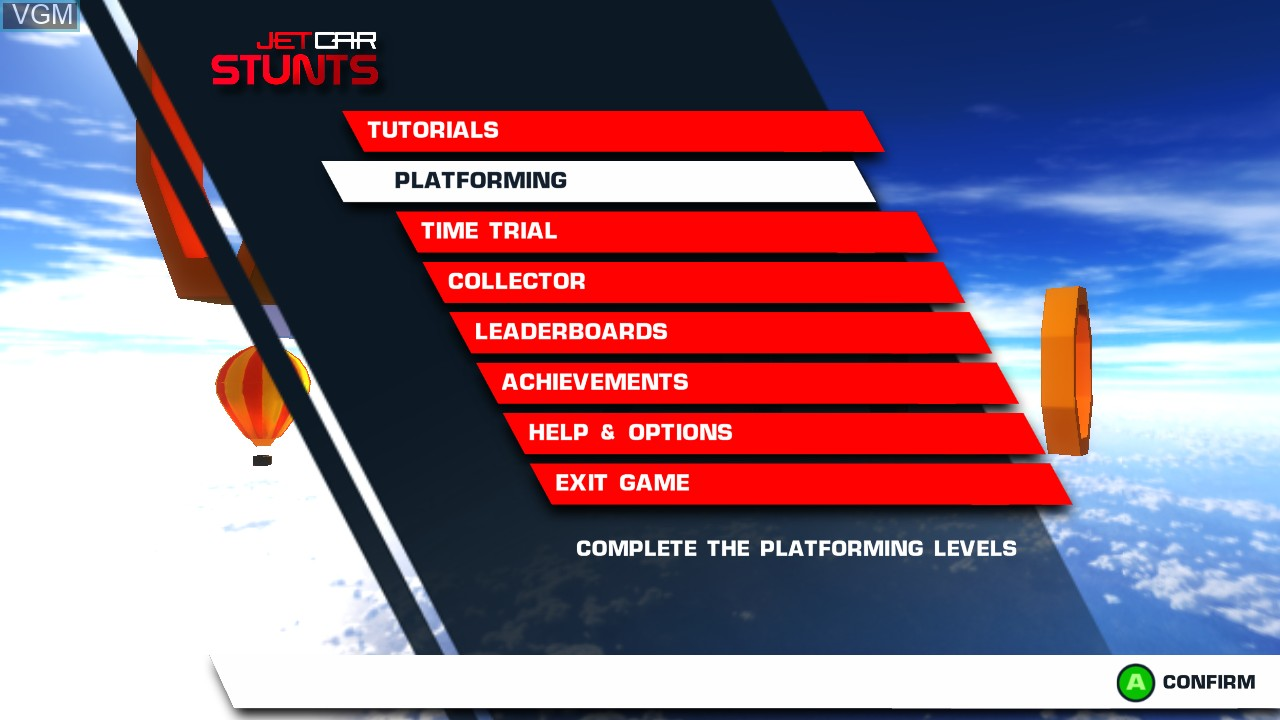 Menu screen of the game Jet Car Stunts on Microsoft Xbox 360