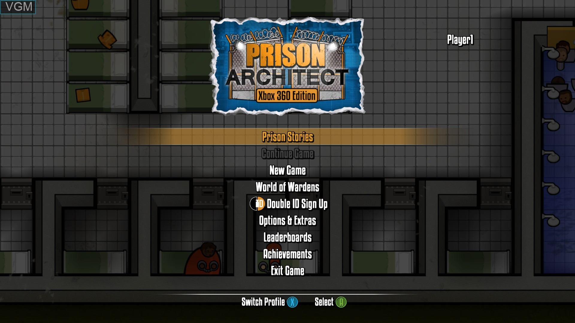 Menu screen of the game Prison Architect on Microsoft Xbox 360