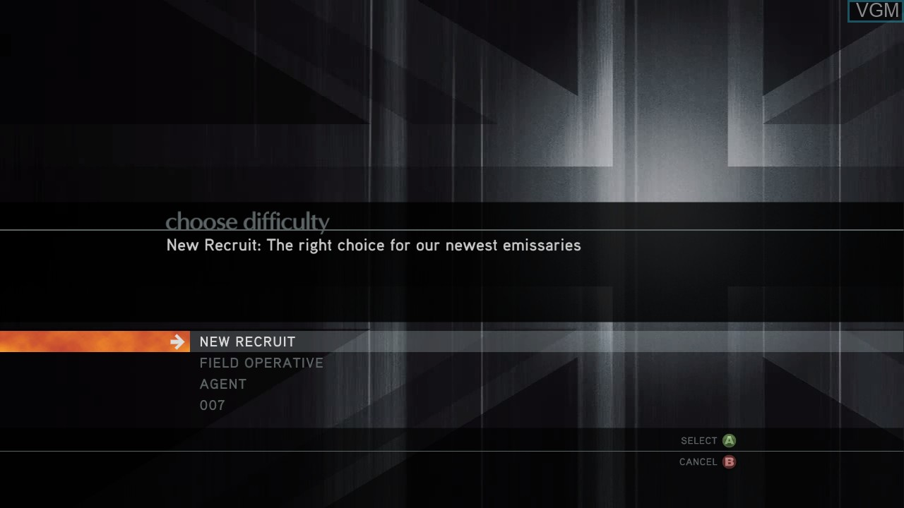 Menu screen of the game 007 - Quantum of Solace on Microsoft Xbox 360