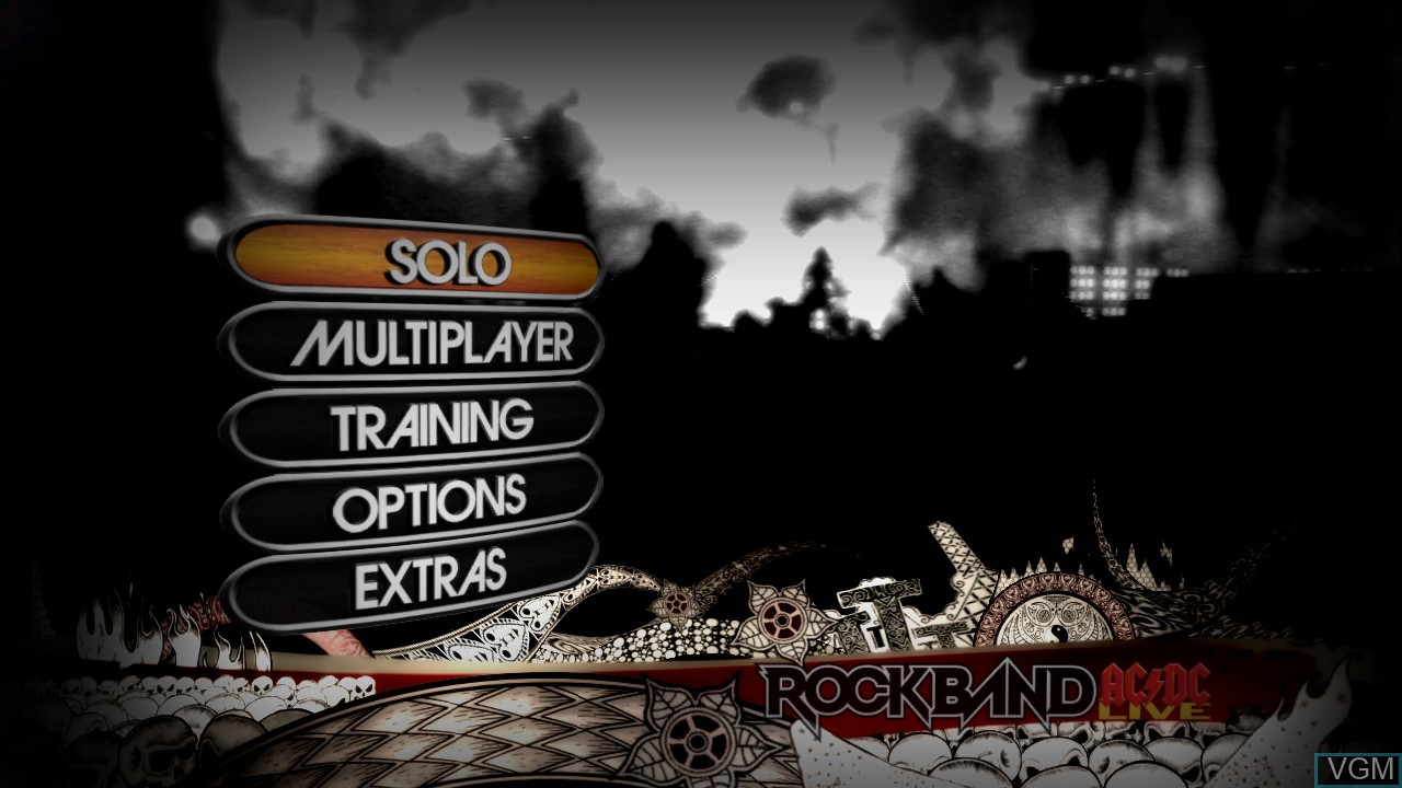 Menu screen of the game AC/DC LIVE - Rock Band Track Pack on Microsoft Xbox 360