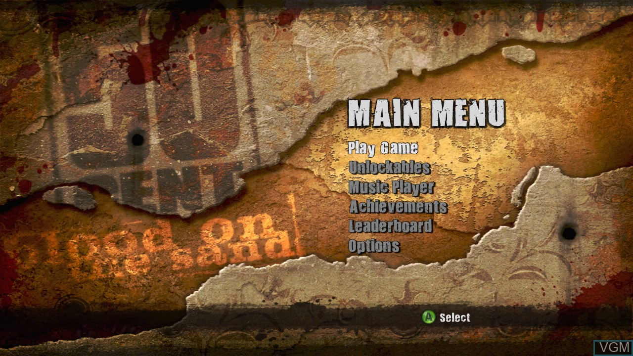 Menu screen of the game 50 Cent - Blood on the Sand on Microsoft Xbox 360