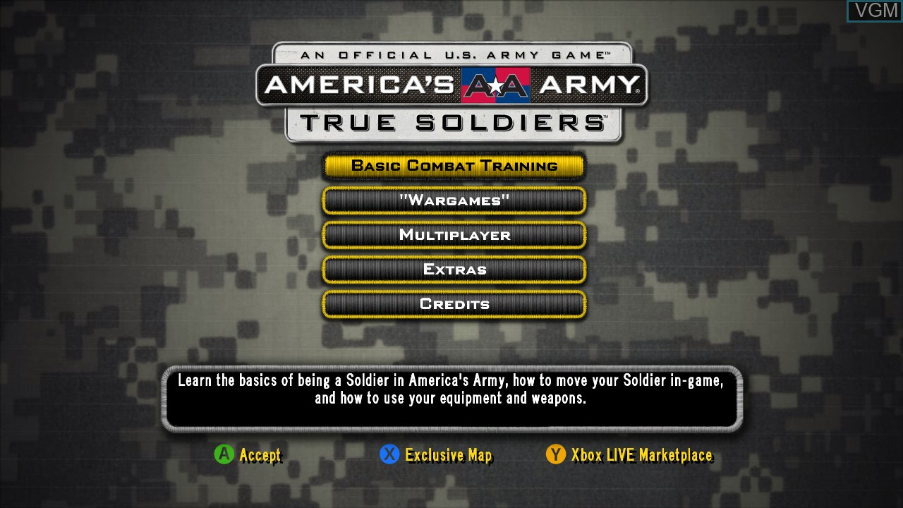 Menu screen of the game America's Army - True Soldiers on Microsoft Xbox 360