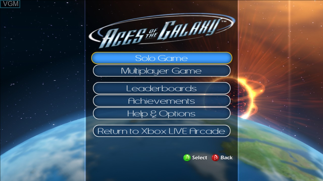 Menu screen of the game Aces of the Galaxy on Microsoft Xbox 360