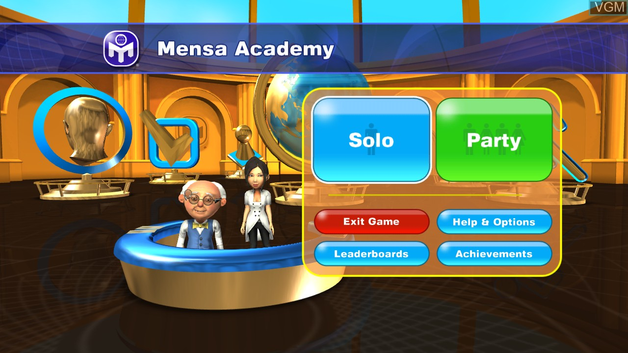 Menu screen of the game American Mensa Academy on Microsoft Xbox 360