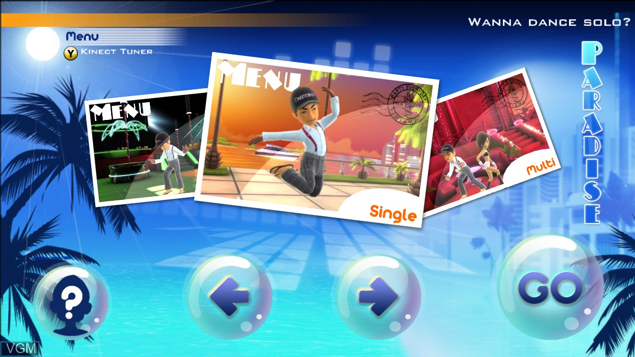 Menu screen of the game Dance Paradise on Microsoft Xbox 360