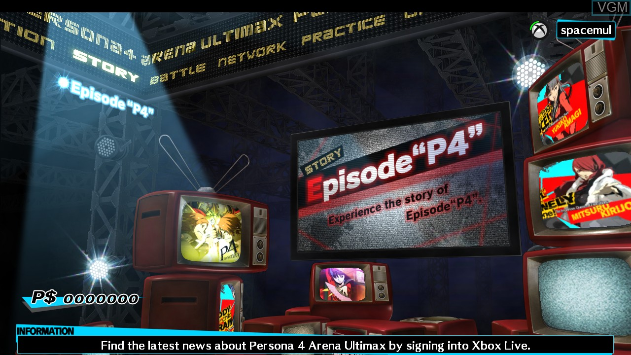 Menu screen of the game Persona 4 Arena Ultimax on Microsoft Xbox 360