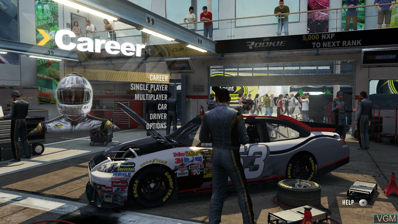 Menu screen of the game NASCAR 2011 - The Game on Microsoft Xbox 360