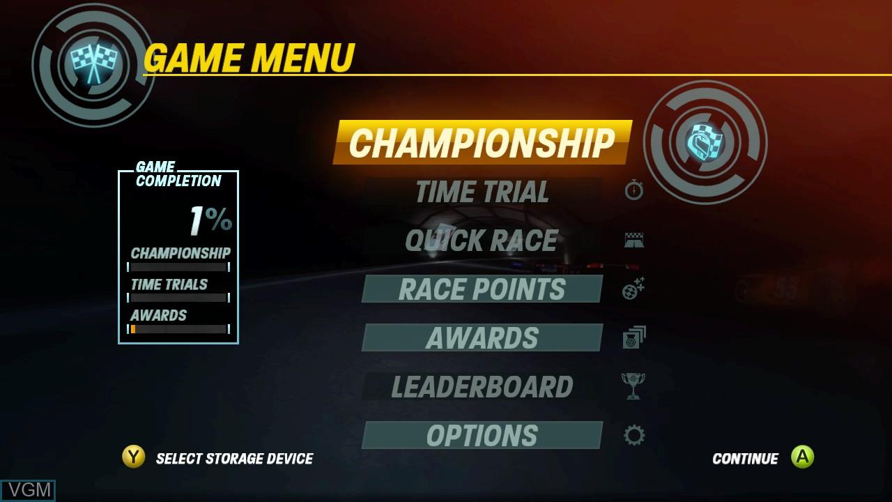 Menu screen of the game NASCAR Unleashed on Microsoft Xbox 360