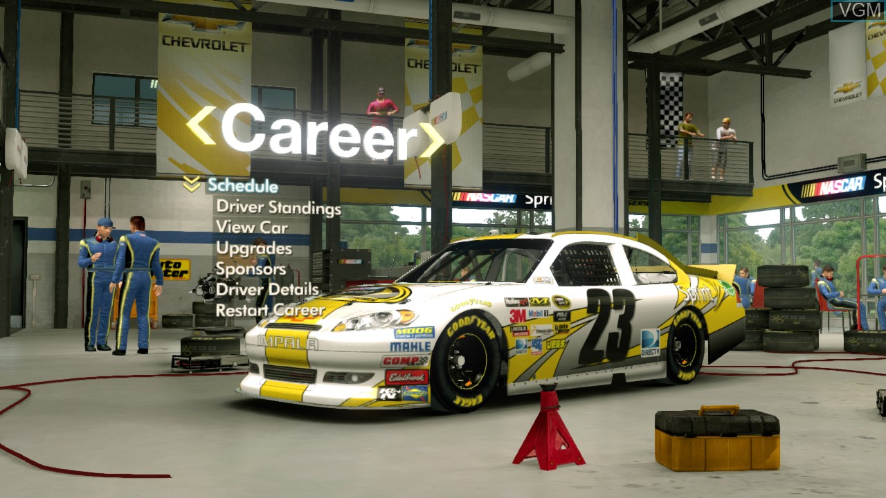 Menu screen of the game NASCAR The Game - Inside Line on Microsoft Xbox 360