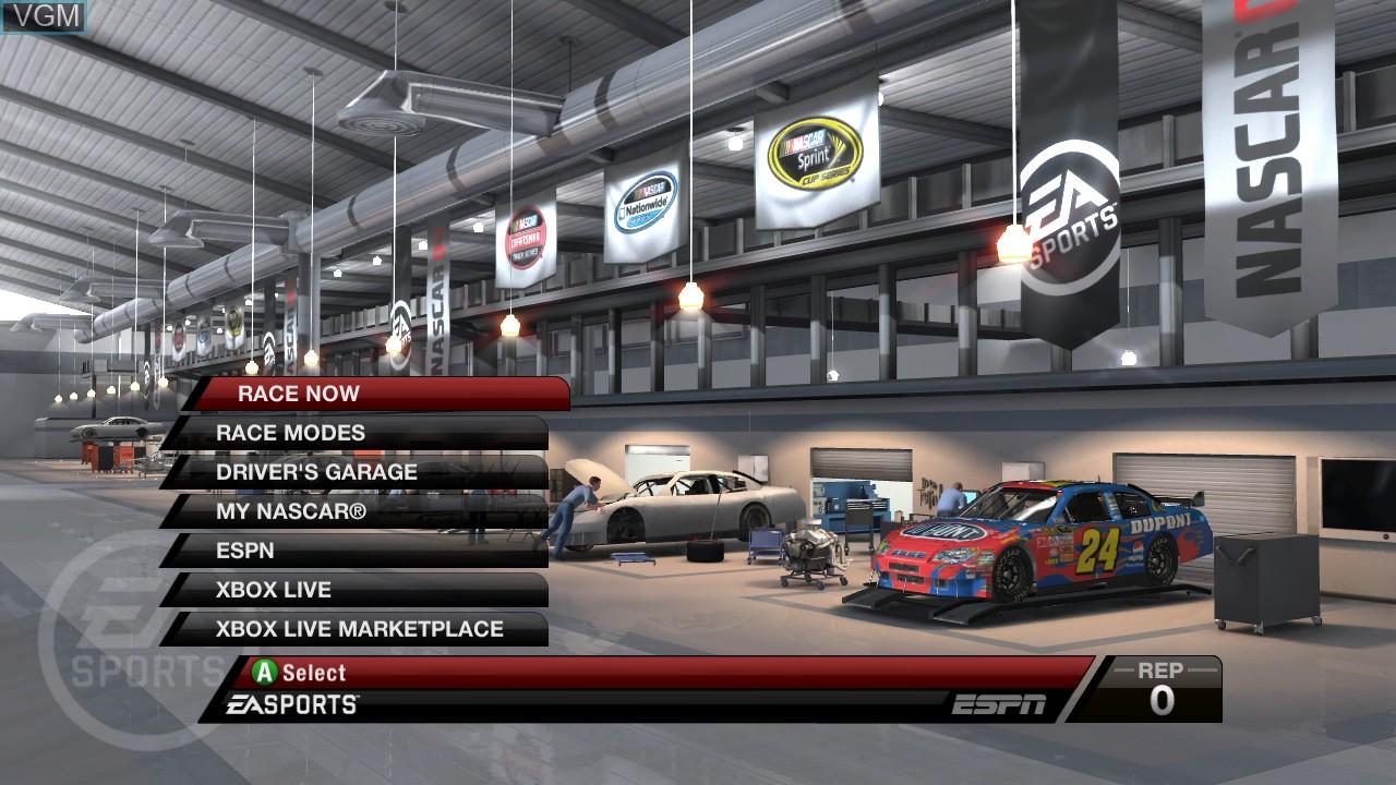 Menu screen of the game NASCAR 09 on Microsoft Xbox 360
