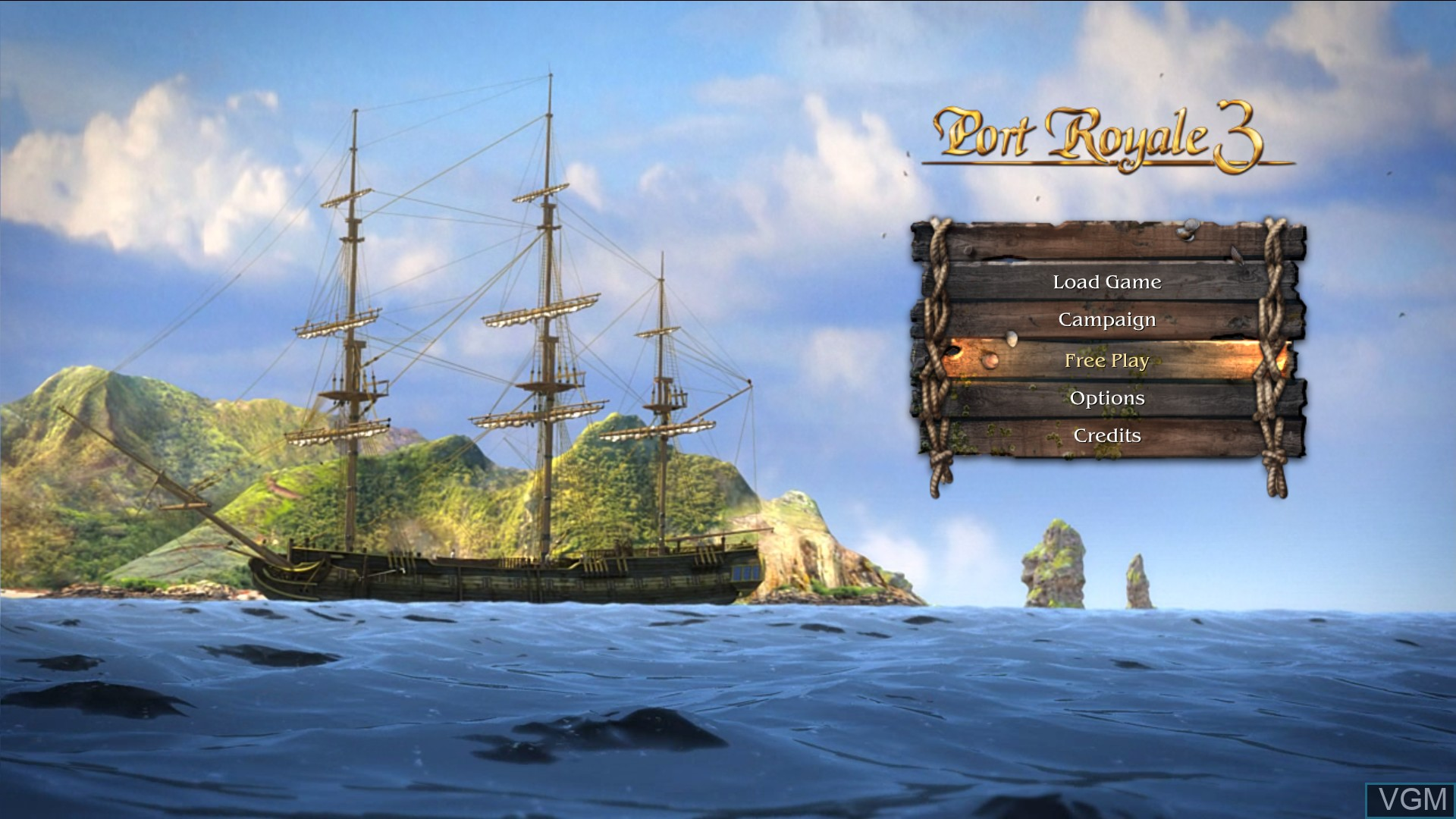 Menu screen of the game Port Royale 3 - Pirates and Merchants on Microsoft Xbox 360