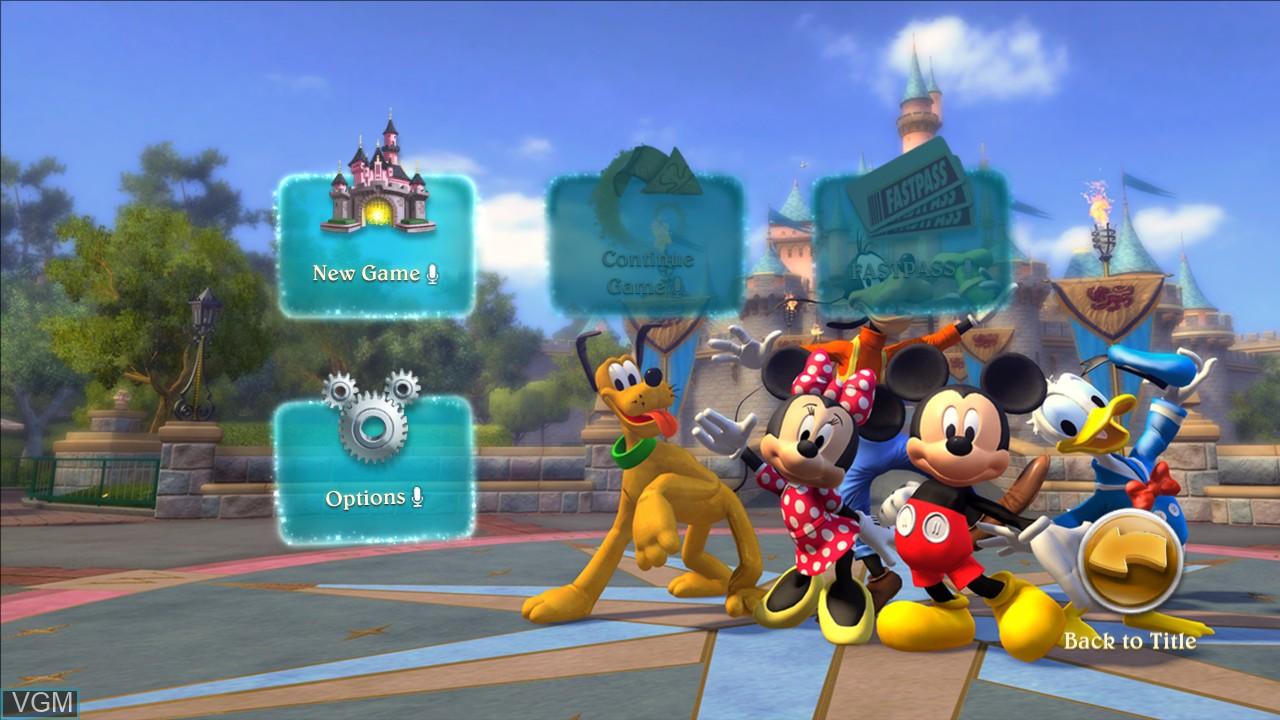 Menu screen of the game Kinect - Disneyland Adventures on Microsoft Xbox 360