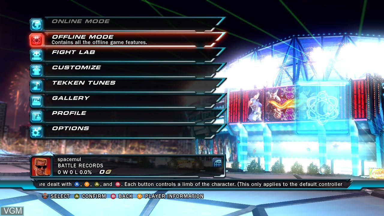 Menu screen of the game Tekken Tag Tournament 2 on Microsoft Xbox 360