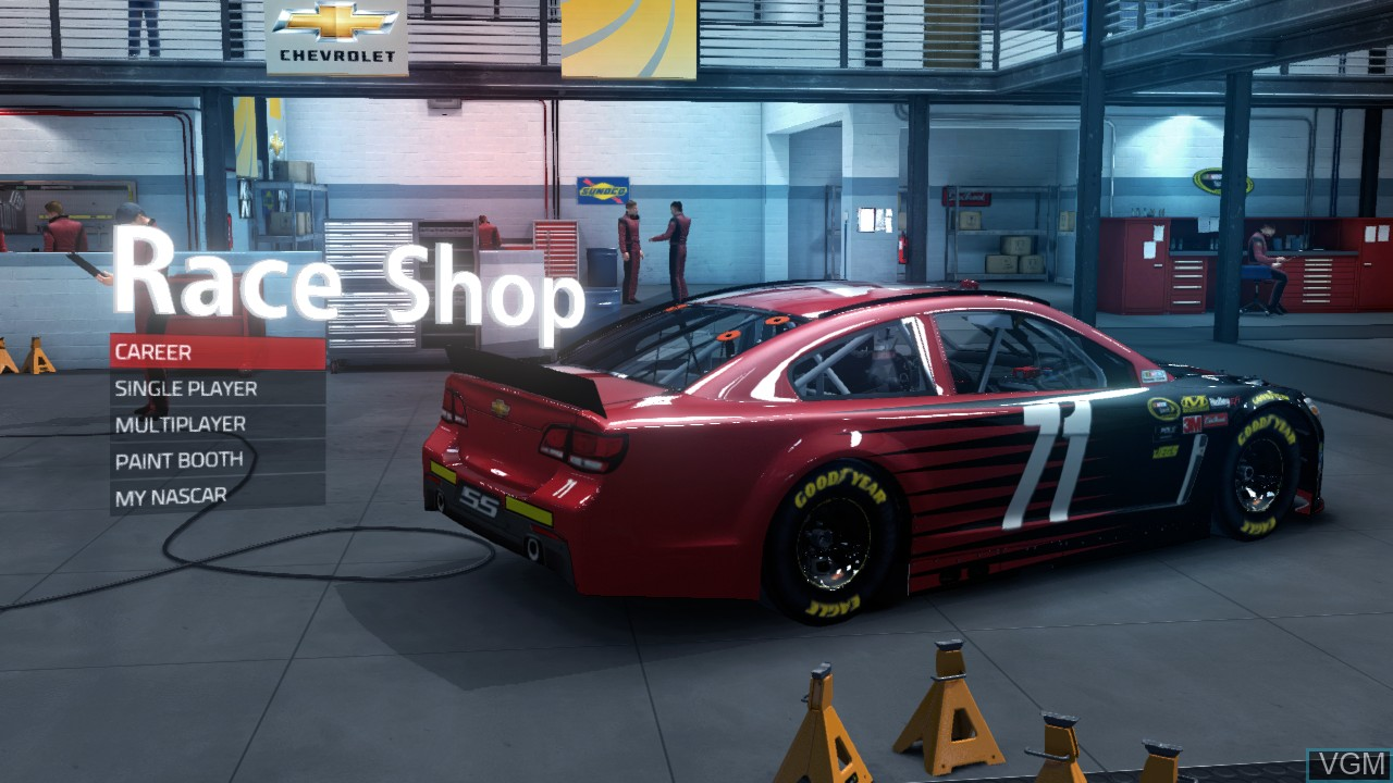 Menu screen of the game NASCAR '15 on Microsoft Xbox 360