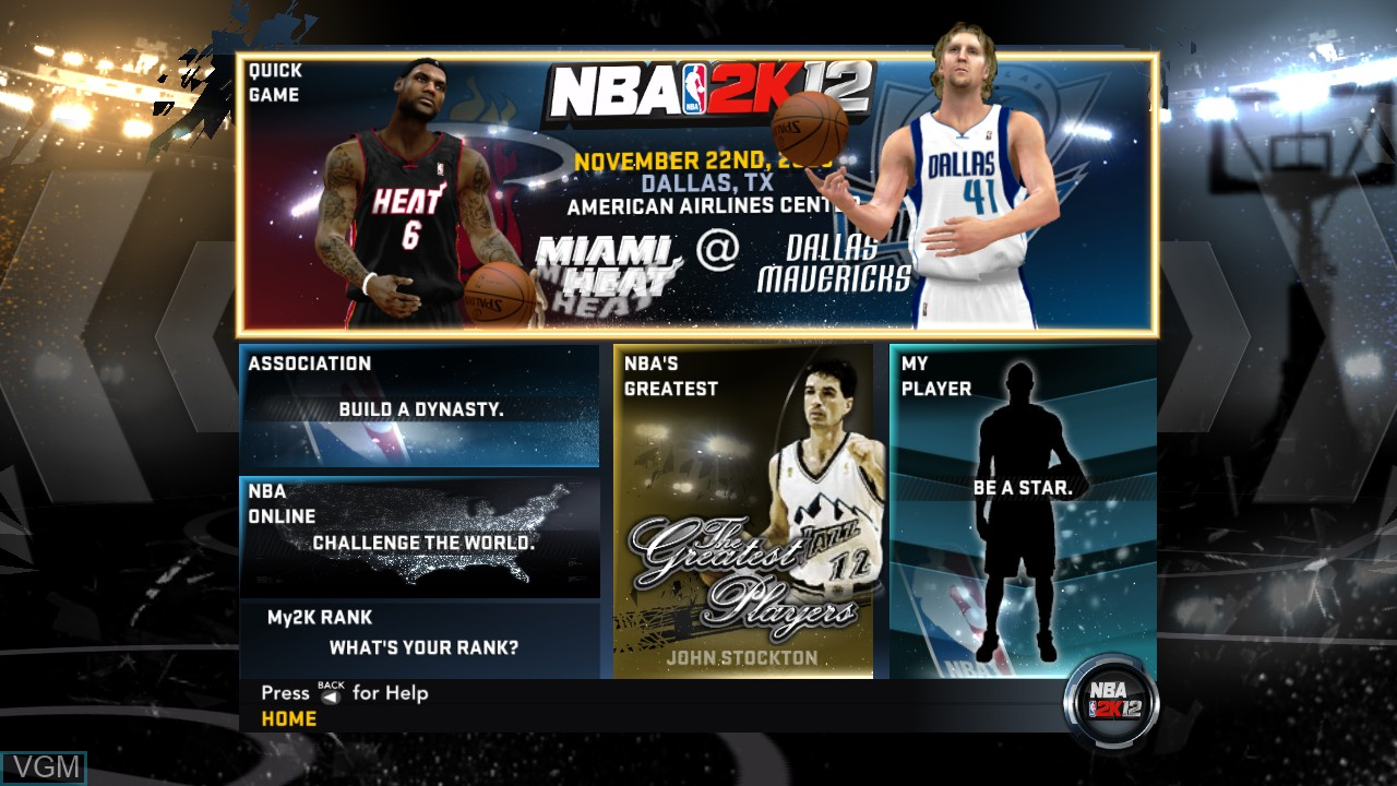 Menu screen of the game NBA 2K12 on Microsoft Xbox 360