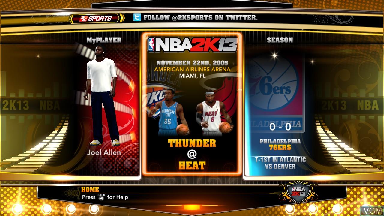Menu screen of the game NBA 2K13 on Microsoft Xbox 360