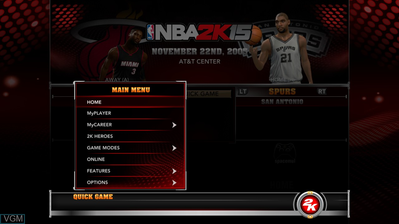 Menu screen of the game NBA 2K15 on Microsoft Xbox 360