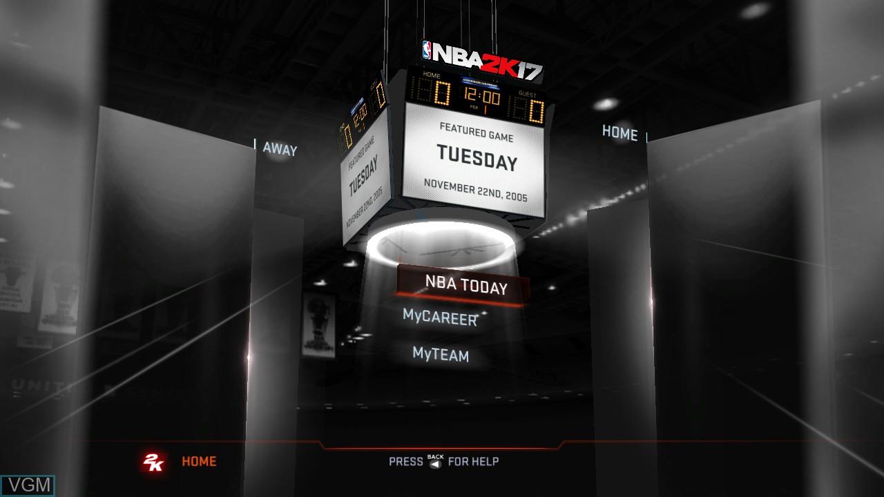 Menu screen of the game NBA 2K17 on Microsoft Xbox 360