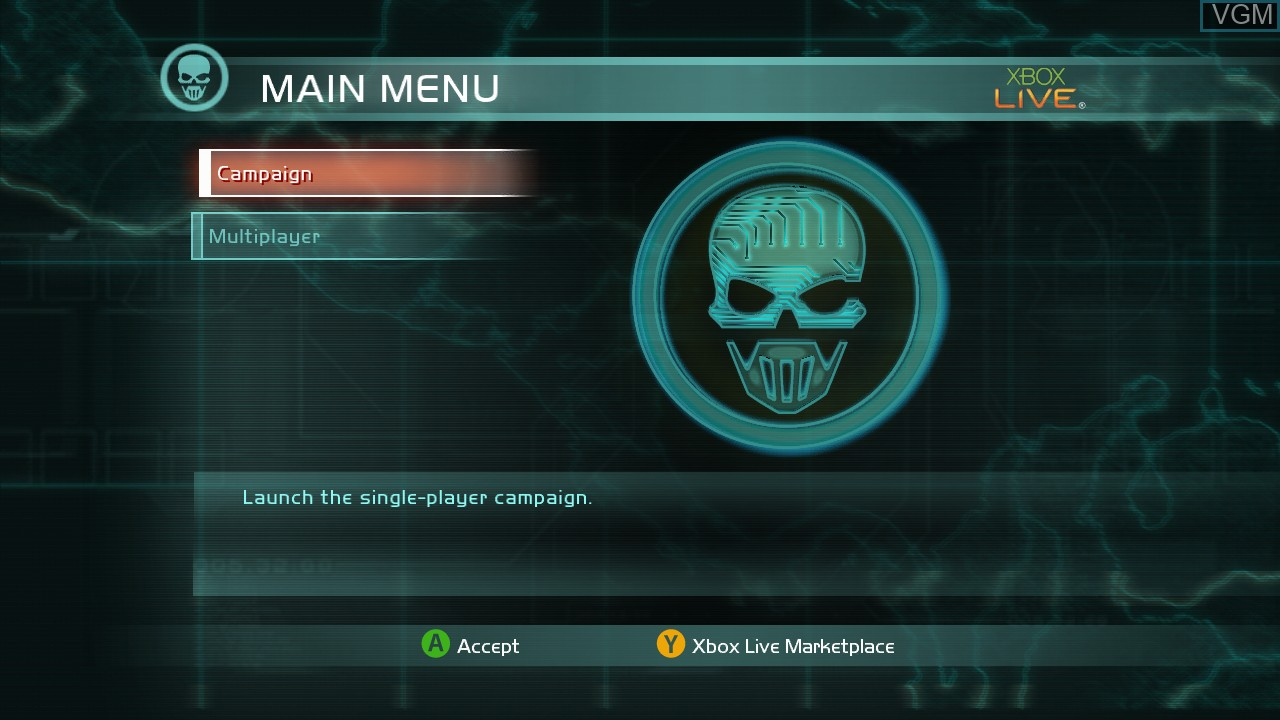 Menu screen of the game Tom Clancy's Ghost Recon Advanced Warfighter 2 on Microsoft Xbox 360