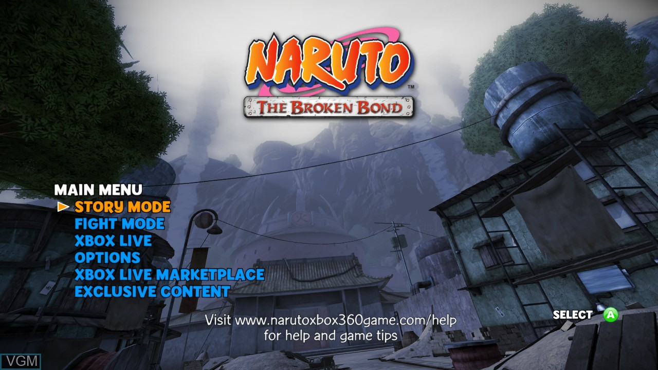 Menu screen of the game Naruto - The Broken Bond on Microsoft Xbox 360