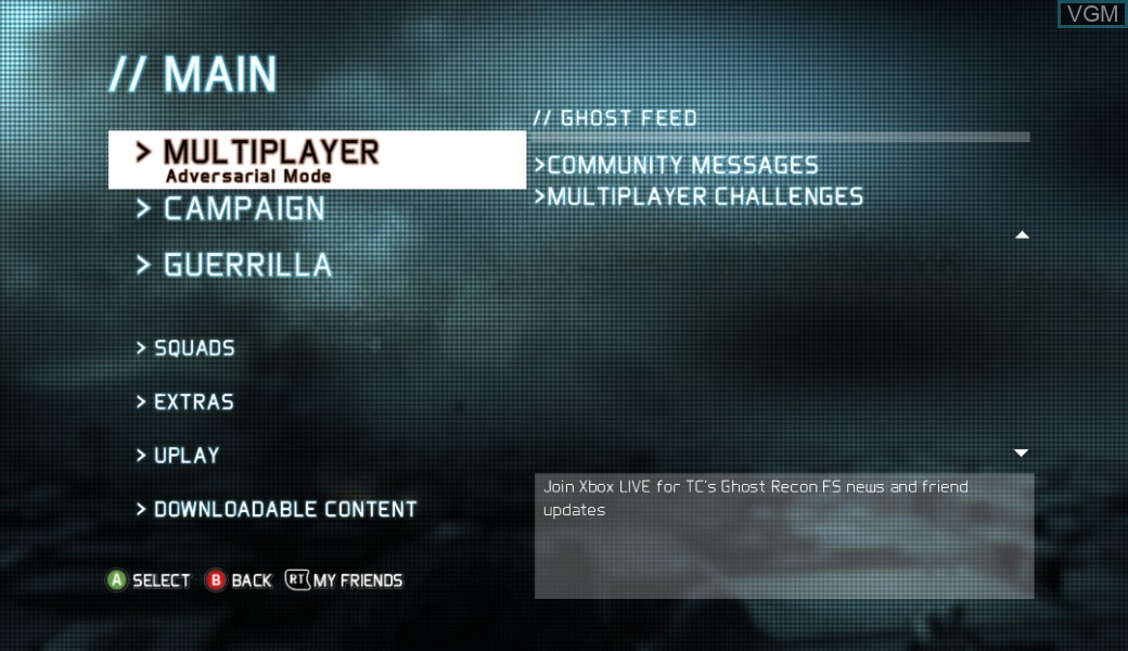 Menu screen of the game Tom Clancy's Ghost Recon - Future Soldier on Microsoft Xbox 360