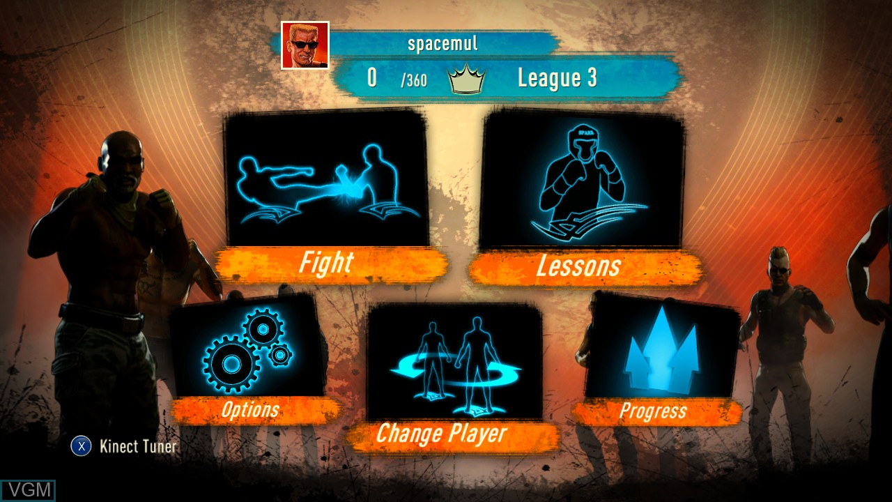 Menu screen of the game Fighters Uncaged on Microsoft Xbox 360