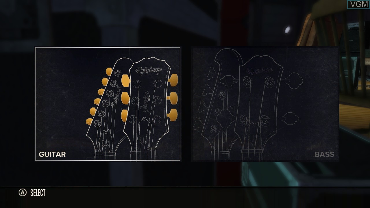 Menu screen of the game Rocksmith on Microsoft Xbox 360