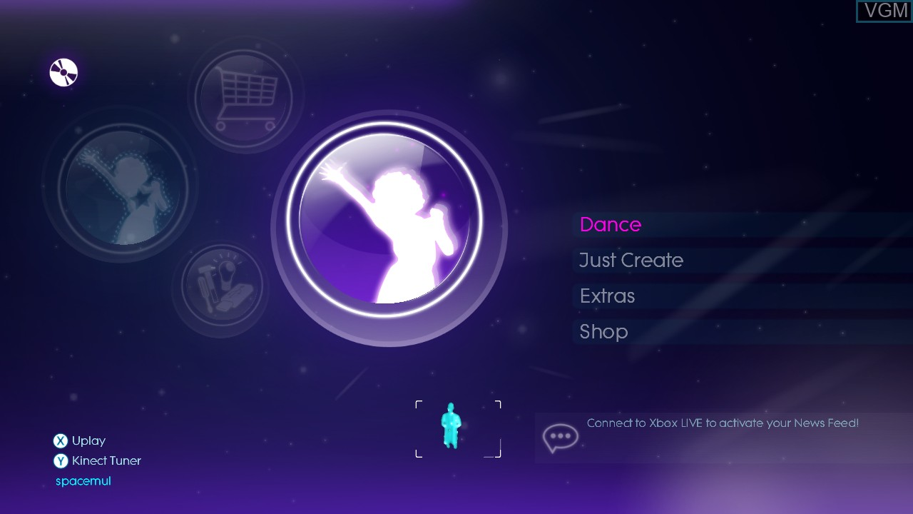 Menu screen of the game Just Dance 3 on Microsoft Xbox 360