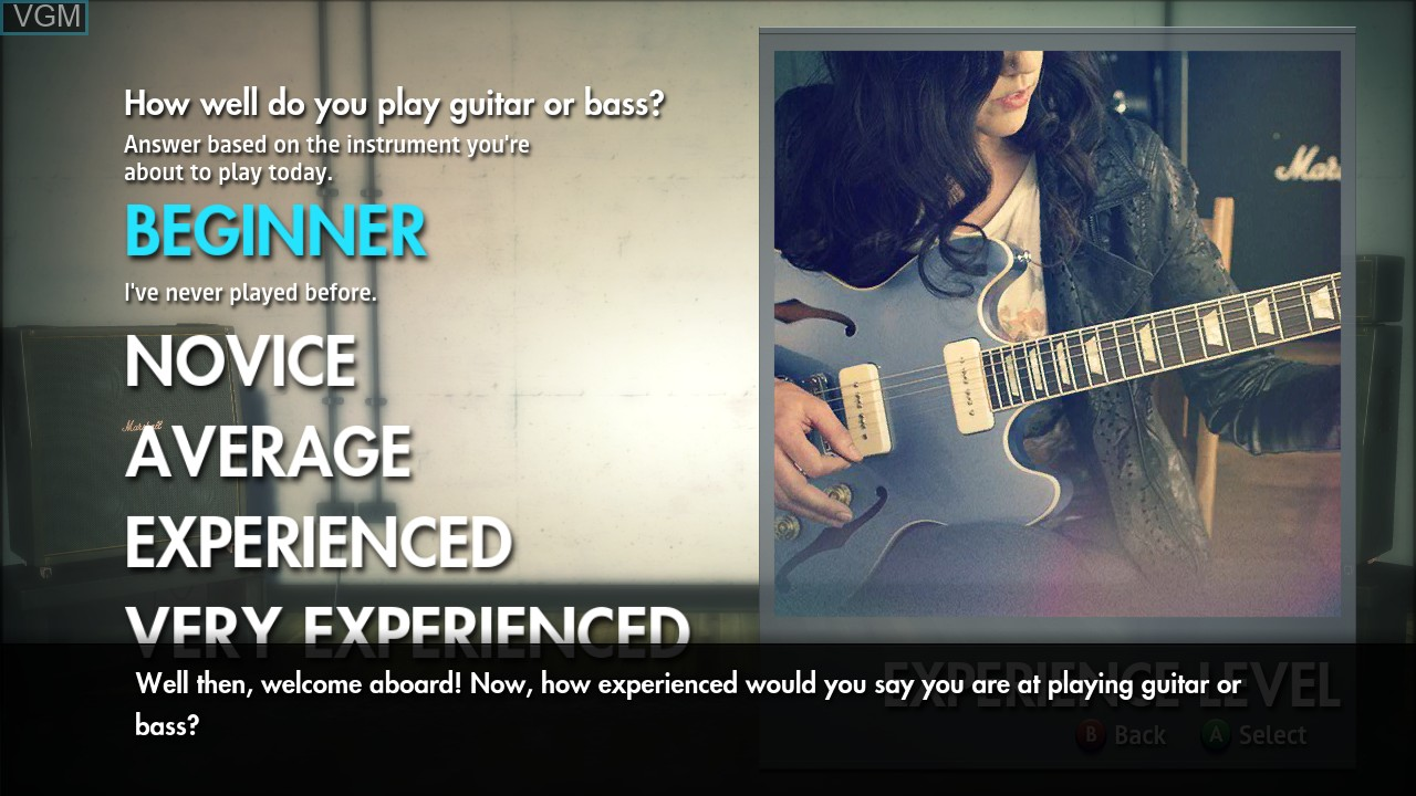 Menu screen of the game Rocksmith 2014 Edition on Microsoft Xbox 360