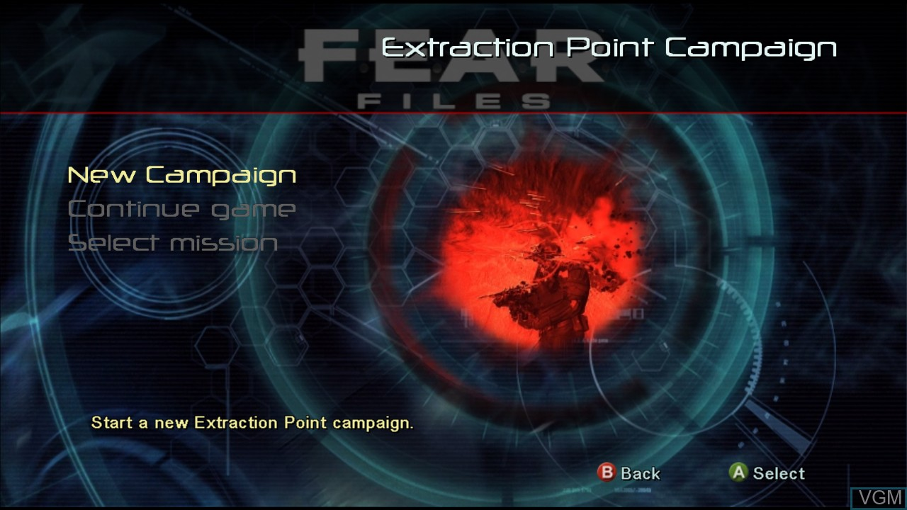 Menu screen of the game F.E.A.R. Files on Microsoft Xbox 360
