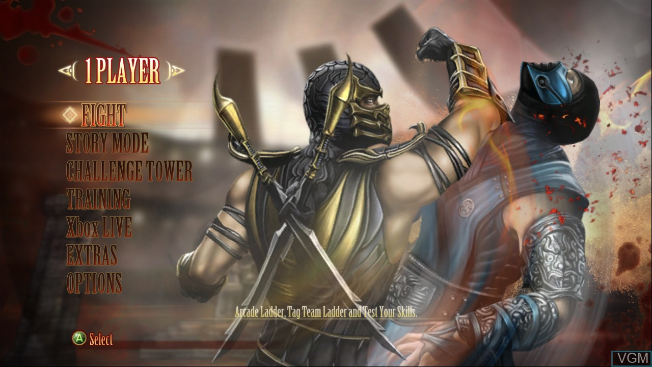 Menu screen of the game Mortal Kombat Komplete Edition on Microsoft Xbox 360