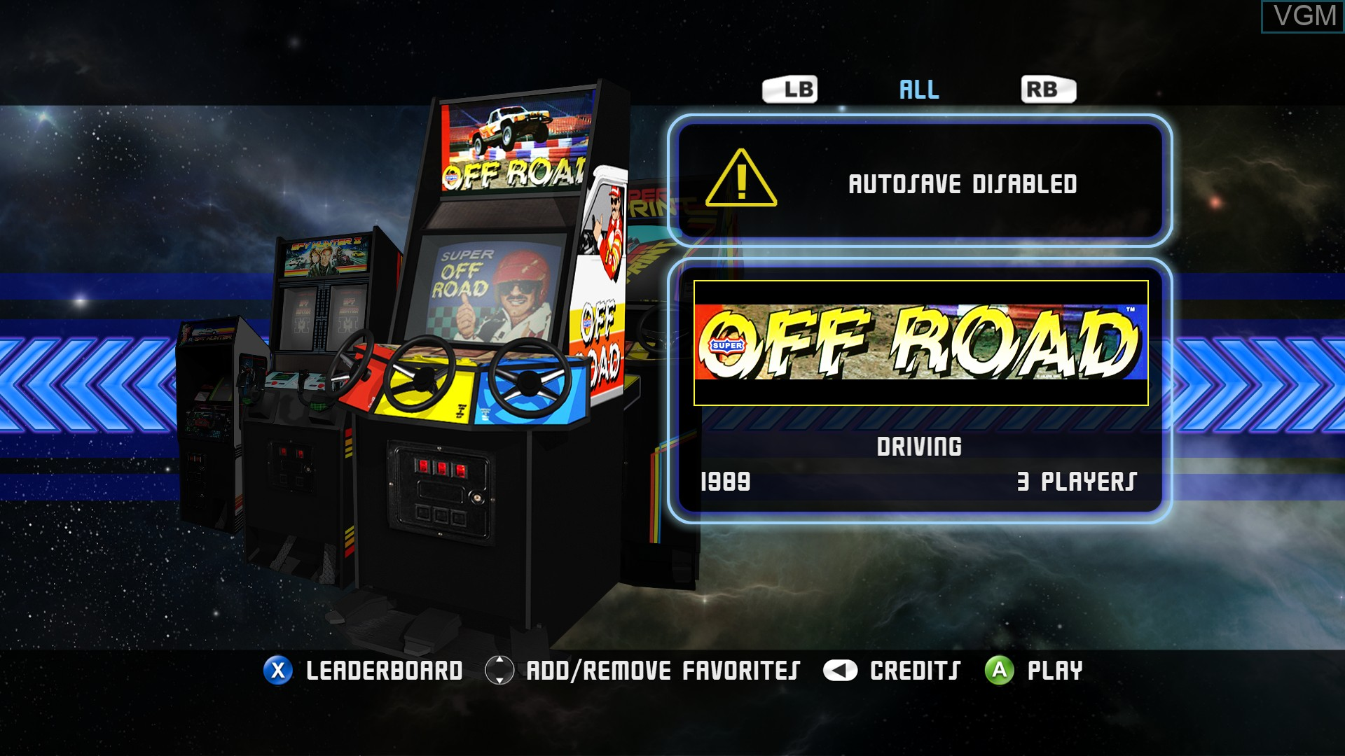 Menu screen of the game Midway Arcade Origins on Microsoft Xbox 360
