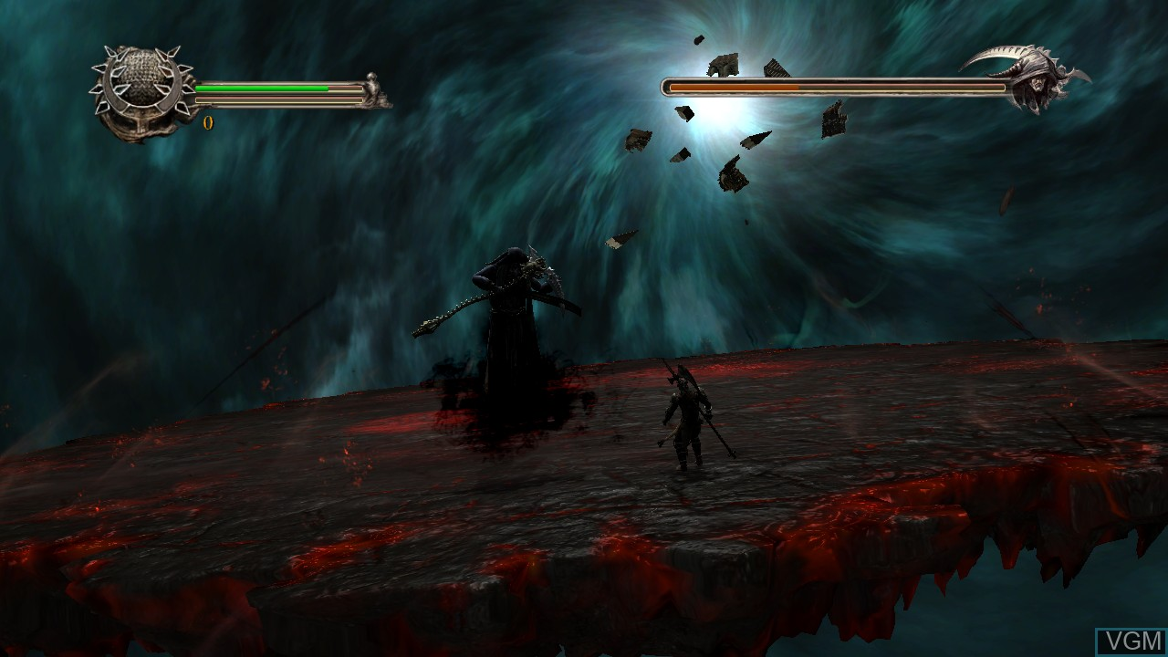 In-game screen of the game Dante's Inferno on Microsoft Xbox 360