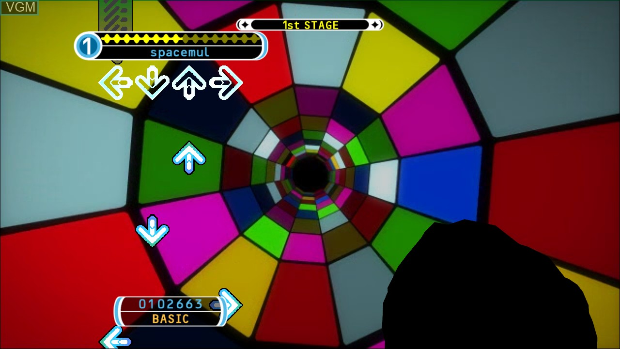 In-game screen of the game Dance Dance Revolution Universe 3 on Microsoft Xbox 360