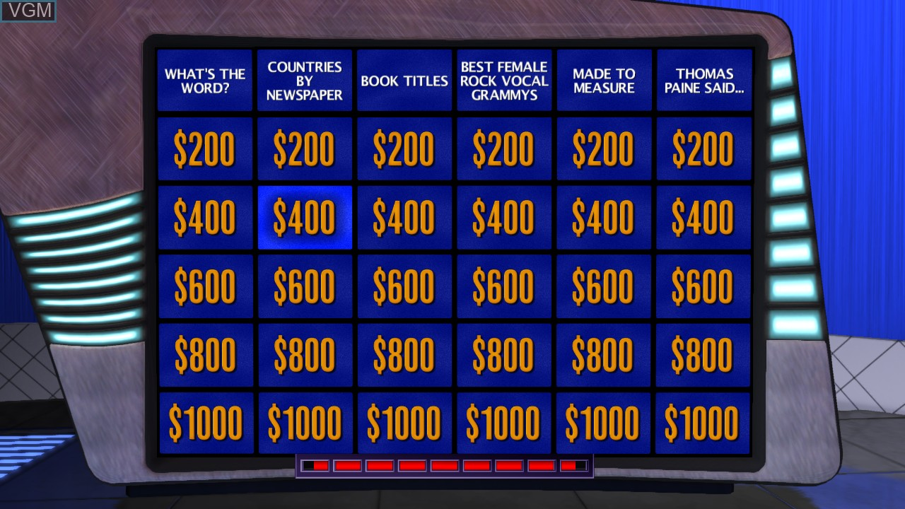 In-game screen of the game Jeopardy! on Microsoft Xbox 360