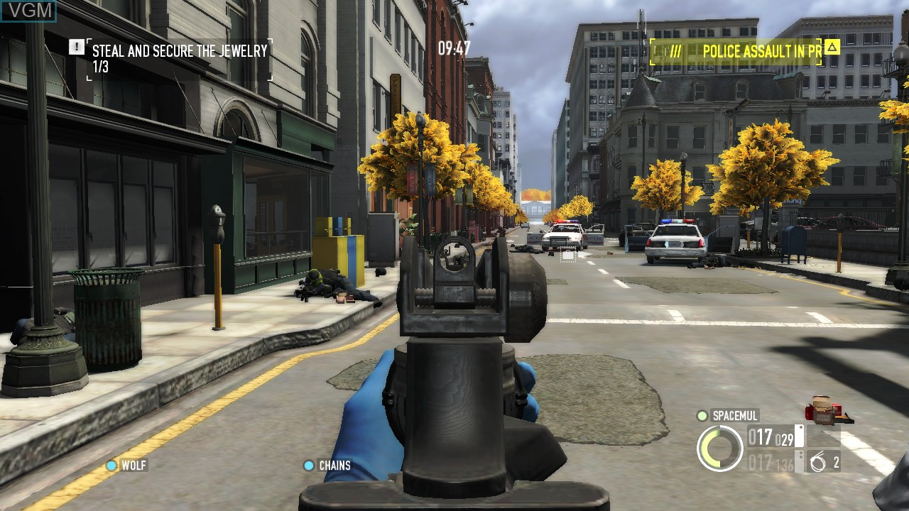 In-game screen of the game Payday 2 on Microsoft Xbox 360