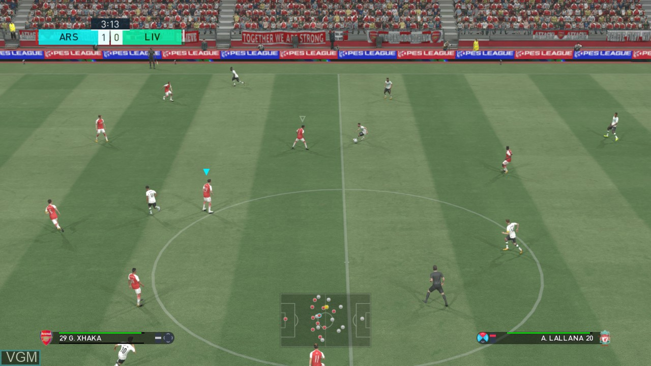 In-game screen of the game Pro Evolution Soccer 2018 on Microsoft Xbox 360