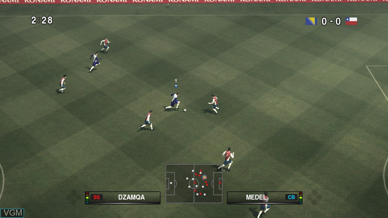 In-game screen of the game Pro Evolution Soccer 2010 on Microsoft Xbox 360