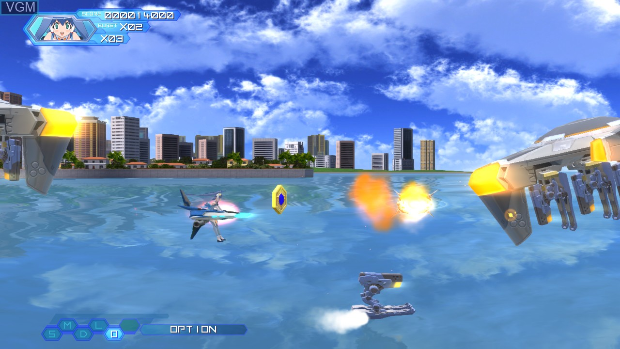 In-game screen of the game Otomedius Excellent on Microsoft Xbox 360