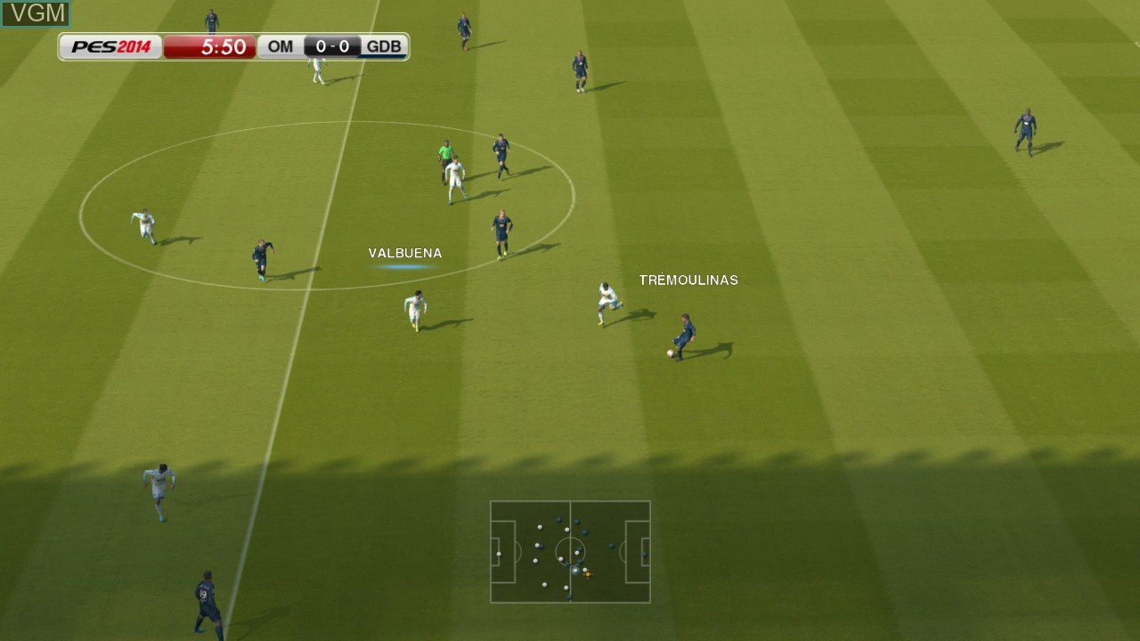 In-game screen of the game Pro Evolution Soccer 2014 on Microsoft Xbox 360