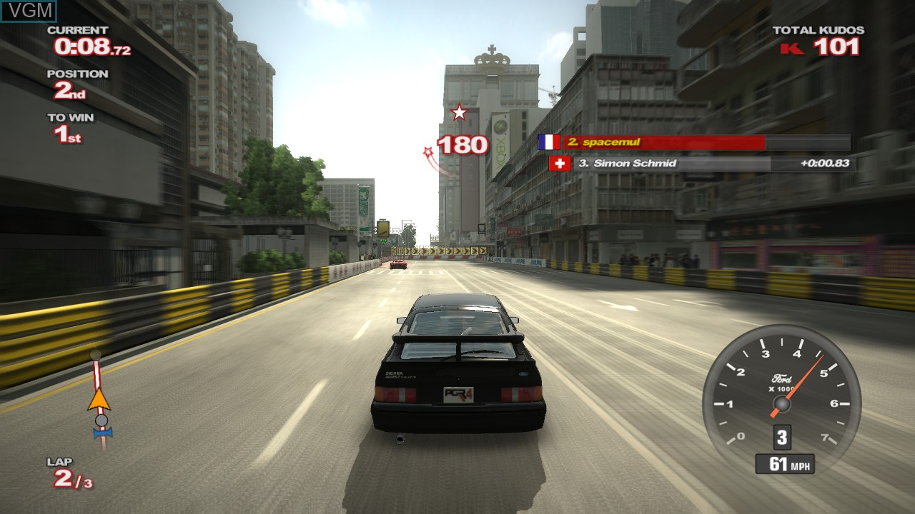 In-game screen of the game Project Gotham Racing 4 on Microsoft Xbox 360